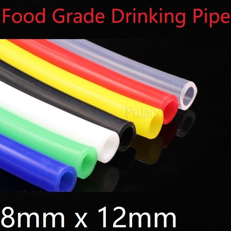 8x12 tubo de silicone id 8mm od 12mm mangueira de borracha flexível espessura 2mm de grau alimentício macio leite cerveja bebida tubulação água conector