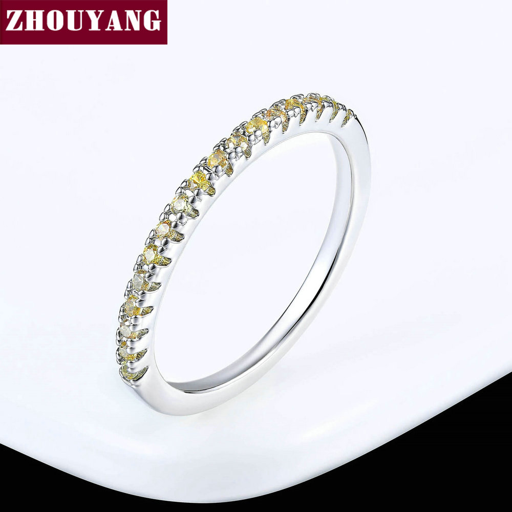 ZHOUYANG обручальное кольцо для женщин и мужчин лаконичное классическое многоцветное мини кубическое циркониевое розовое золото цвет подарок модное ювелирное изделие R251 - Цвет основного камня: R184