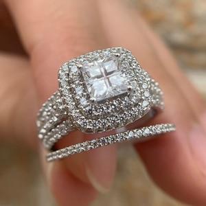 Image 4 - Newshe 925 スターリングシルバーハロー女性のためのエレガントなジュエリープリンセスクロスカットキュービックジルコニア婚約指輪