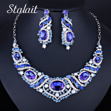 Dubai Silver Jewelry Sets Wedding Beads Oval Large Crystal Women Bridal Jewellery Set Rhinestone Choker Necklace Earrings Set(China)