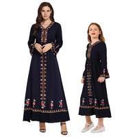Muslim Women Girls Embroidery Long Dress Mother Daughter Parent Child Abaya Robe Ethnic V neck Dress Family Matching Outfits New