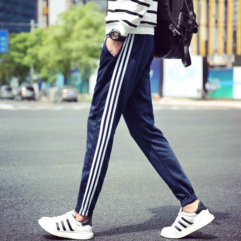 Men'S Wear 16 New Style Autumn Beam Leg Stripes Athletic Pants Slim Models Versatile Medium Waist Casual Pants