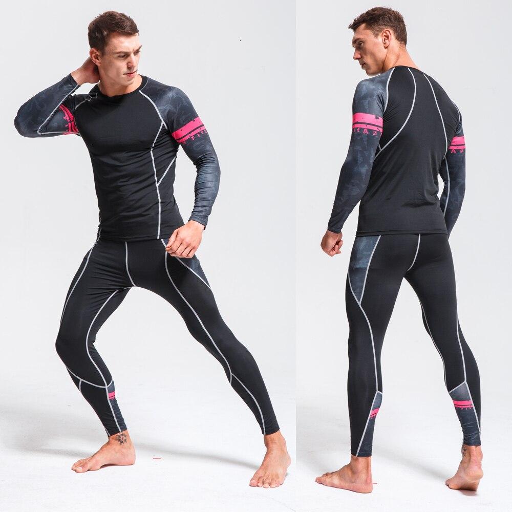 Mens Running Set Compression T-Shirt + Pants Sport Long Sleeves T Shirts Fitness Rashguard Men Gym Leggings Clothes Tight Suit 3