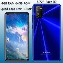 Quad core z10 frente/câmera traseira 4g ram + 64g rom face id smartphones globais 6.72