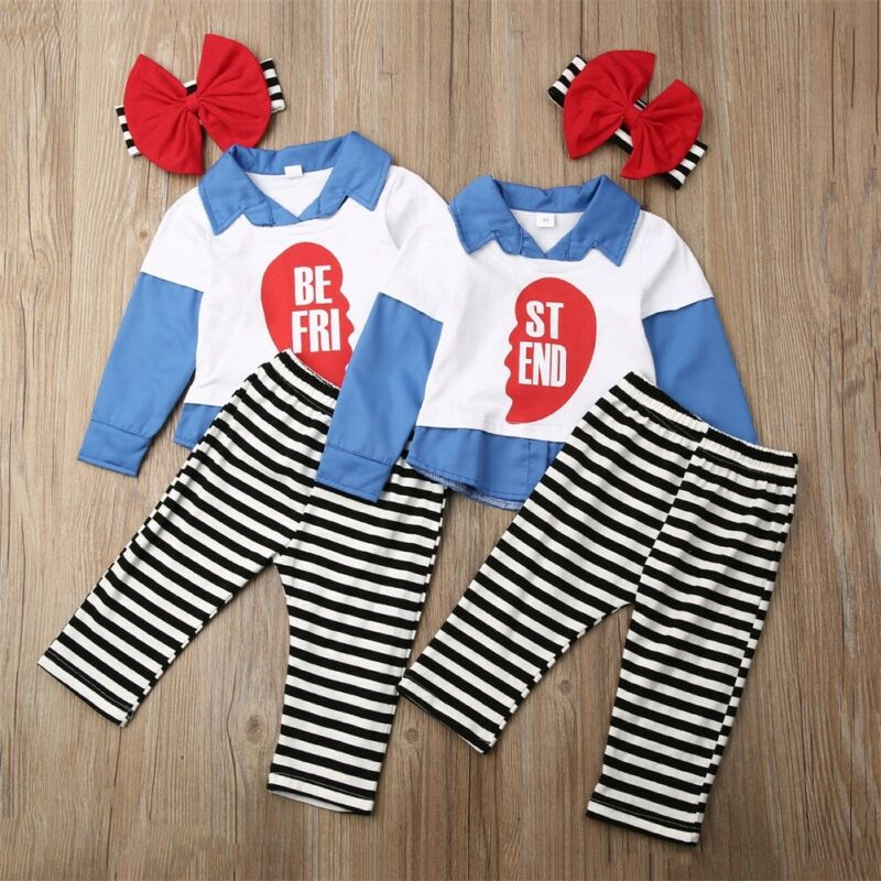 3Pcs Family Clothes Toddler <font><b>Kids</b></font> Baby Girls Long Sleeve T <font><b>Shirt</b></font> Tops Striped Long Pants Headband <font><b>BEST</b></font> <font><b>FRIEND</b></font> Outfit Set image