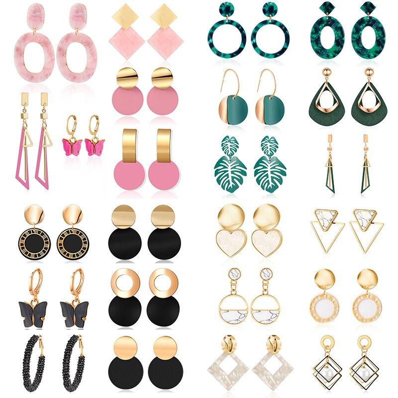 VCORM 6 Pcs/Set Fashion 2021 Hot Sell New Design Women Earrings Set Acrylic Gold Earrings For Best Friend Jewelry Gift Wholesale