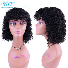 Wig Hair Bangs Natural Full-Machine Bobo Women Curly with Deep-Wave 100%Remy