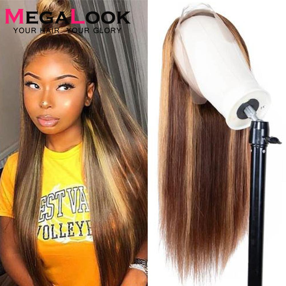 Ombre Highlight Wig Brown Honey Blonde Colored 13x6 Lace Front Human Hair Wigs Megalook Straight Human Hair Wig Lace Frontal Wig