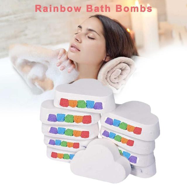 1PCS 100% Natural Skin Care Cloud Rainbow Bath Salt Shower Bomb Exfoliating Moisturizing Bubble Bath Bombs Suitable for everyone