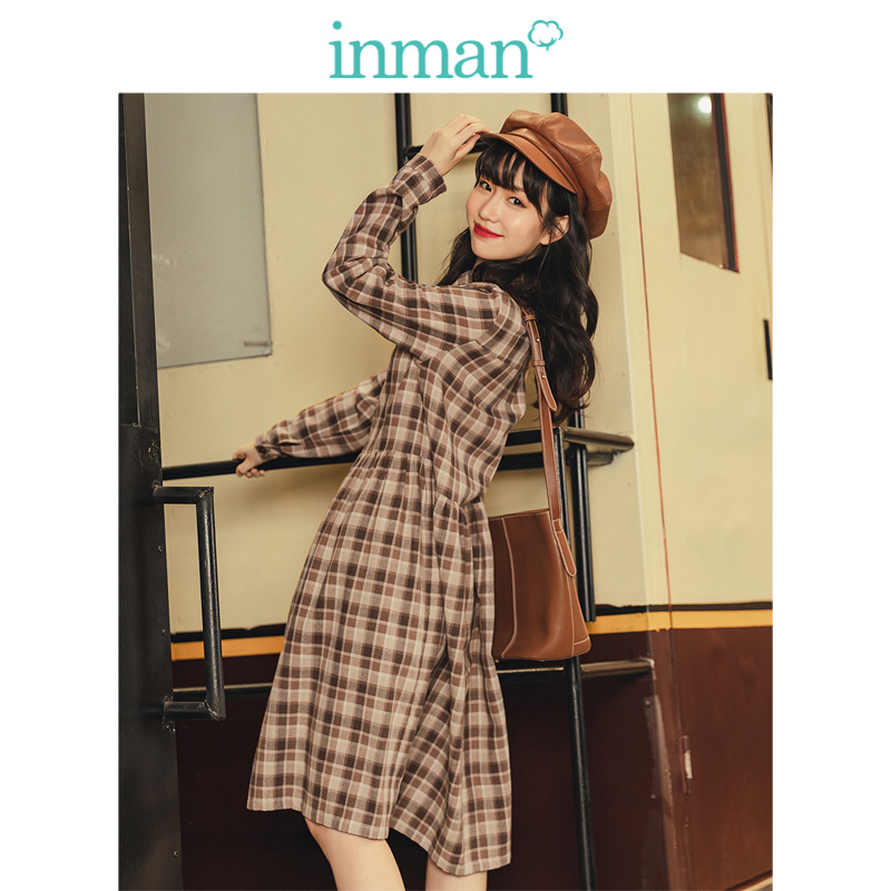 INMAN 2019 Autumn New Arrival Retro Young Girl Literary Turn Down Collar Plaid Loose All Matched Women Dress
