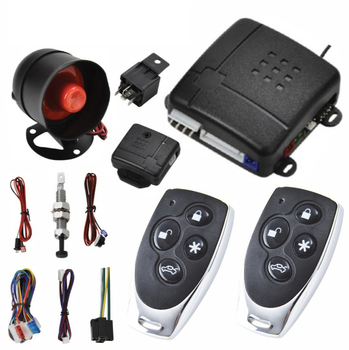 Car Alarm Vehicle System 1-Way Remote Central Door Lock Keyless With 2 Control Burglar  Protection Security