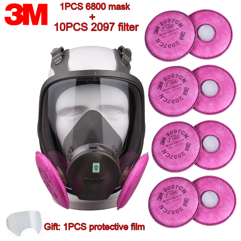 3M 6800+2097 Respirator Gas Mask Against Organic Gas PM2.5 Smoke Protective Mask Bubble Column Protected Transportation Gas Mask