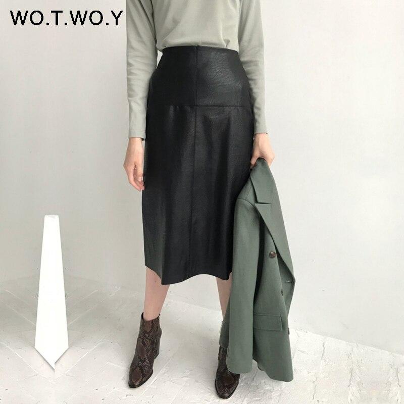 WOTWOY High Waist Leather Skirt Women Summer Elegant Black Knee-Length Pencil Skirts Women Solid Pockets Zipper-Up Jupe Femme