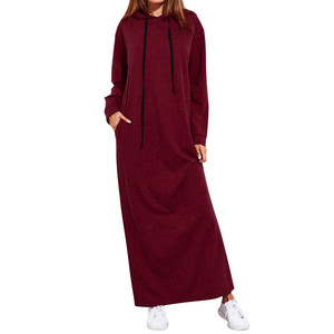 Women Hoodies Sweatshirts Plus Size Hooded Long Dress Autumn Winter Casual Loose Solid Pocket Outwear Long Sleeve Hoody Pullover