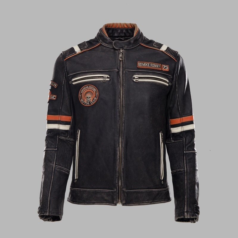 2020 New Vintage Black Motorcycle Genuine Leather Jacket Men Multiple Labeling Thick Cowhide Biker Jacket Winter Coats
