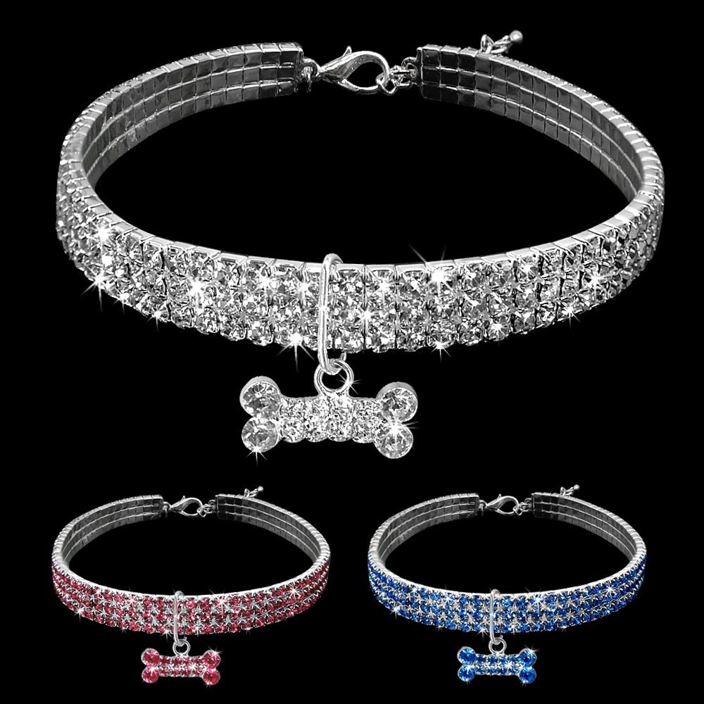 Bling Crystal Dog Collar Diamond Puppy Pet Shiny Full Rhinestone Bone Necklace Collars For Pet Little Dogs Supplies S/M/L D40
