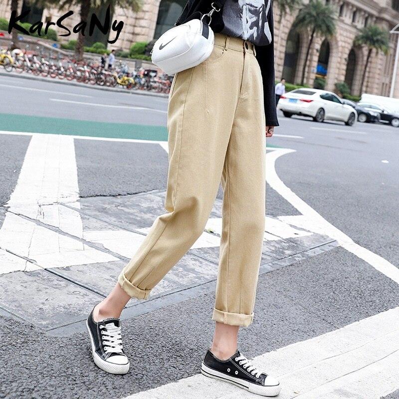 Summer Harem Pants Women Loose Sweatpants High Waist Beige Casual Cargo Pants For Women 2020 Women's Jeans Cargo Trousers Summer