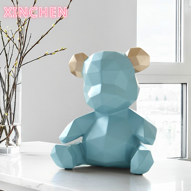Resin Home Decor Sculpture Bear Figurine  Decoration Bear Ornament In Home Office Garden Children X'mas Gift Resin Animal Statue