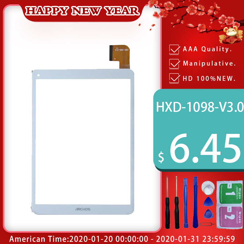 New White For ARCHOS 97C PLATINUM Tablet Pc Capacitive Touch Screen Glass Digitizer Panel HXD-1098-V3.0 Free Shipping