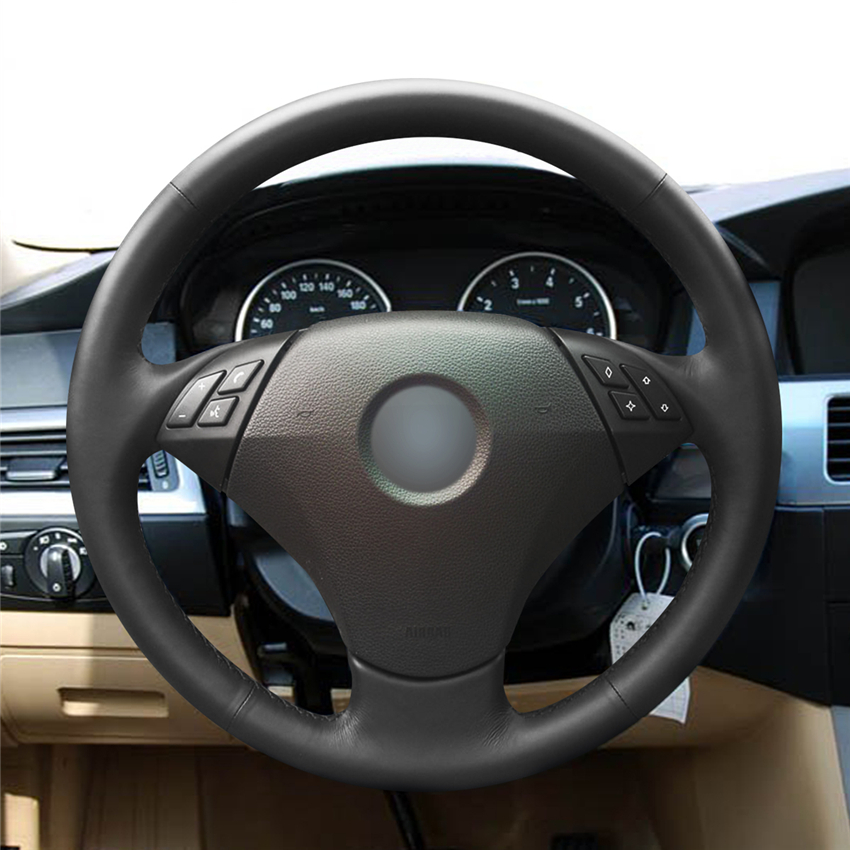 Car Steering Wheel Cover Hand-stitc​h on Wrap Cover Car interior decoration For <font><b>BMW</b></font> 530 523 523li 525 520li 535 <font><b>545i</b></font> <font><b>E60</b></font> image