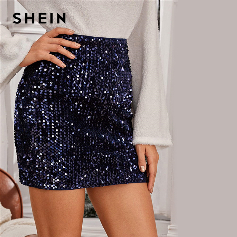 SHEIN Navy Sequin Bodycon Mini Skirt Women Spring Autumn Nightout Mid Waist Party Bodycon Glamorous Skirts 2