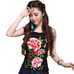 Baoyou original national style vest summer new Chinese style retro embroidered pine neck belt vest