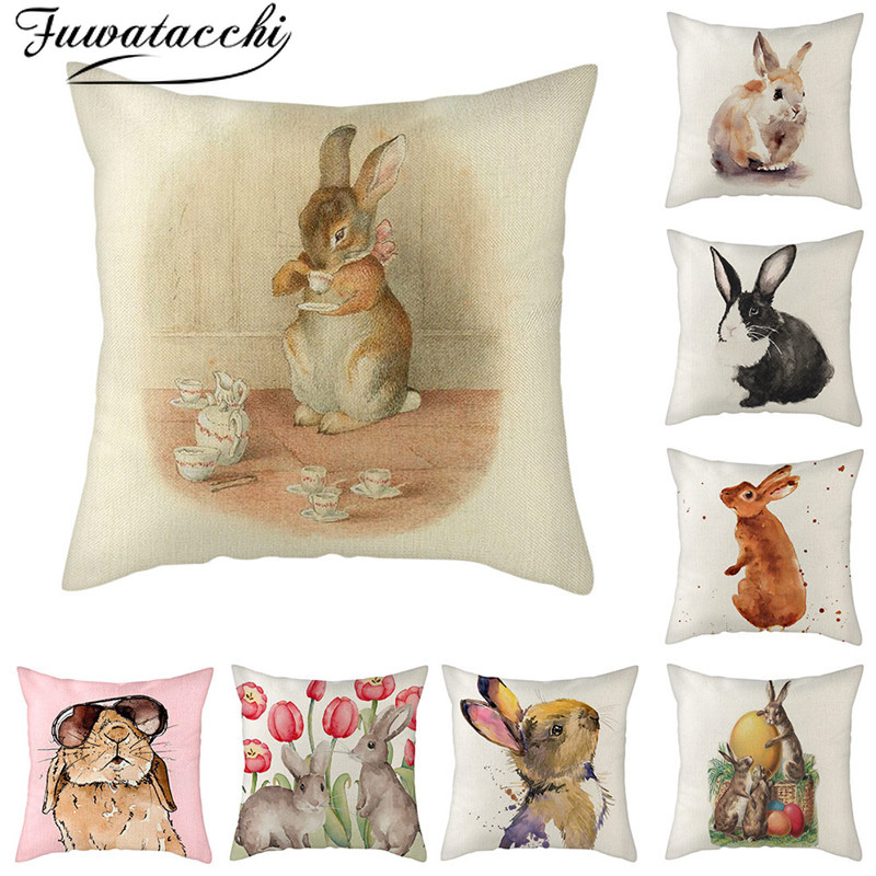 Fuwatacchi Pure Linen Cushion Cover Grey Rabbit Pattern Pillow Cover for Home Chair Sofa and Car Decorative Pillowcases 45x45cm