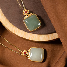 Natural Hetian Jade Jasper Pendant Necklace 925 Sterling Silver Gold-plated Chain Fine Jewelry Designer Vintage Necklace Party