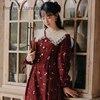 2020 Autumn New Arrival High Quality Retro Peter Pan Collar Flower Printed Women Long Cotton Dress 1