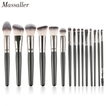 Massaller 15pcs Black Makeup Brush Set Soft Synthetic Hair Cosmetic Brushes Foundation Contour Concealer Eye Shadow Make Up Tool