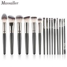 Massaller 15pcs Black Makeup Brush Set Soft Synthetic Hair Cosmetic Brushes Foundation Contour Concealer Eye Shadow Make Up Tool