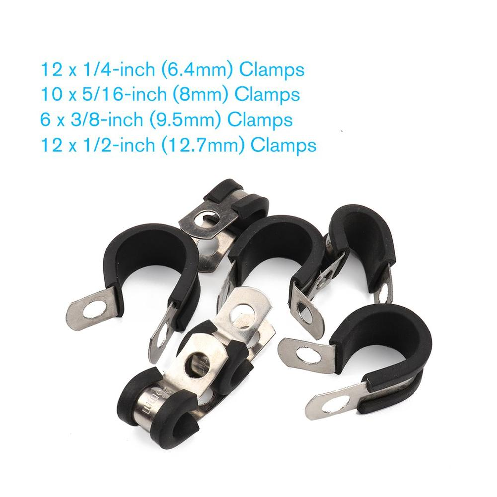 44Pcs Stainless Steel Rubber Cushioned Cable Clamps for Automotive Marine