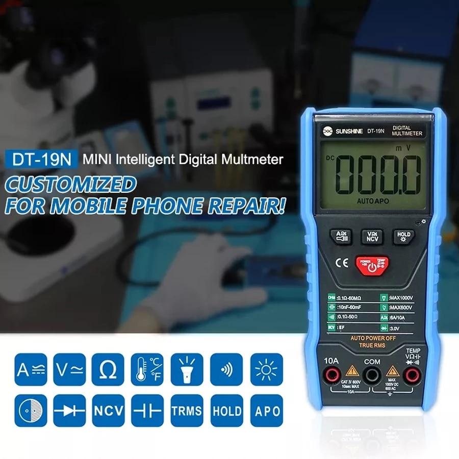 SUNSHINE DT 19N Mini Smart Multimeter Range Mobile Phone Repair Digital Multimeter AC DC Resistance Tester