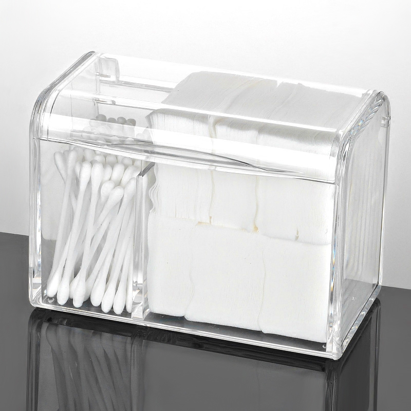 Dustproof Makeup Cotton Pads Organizer Acrylic Cosmetic Swabs Storage Containers With Lid Waterproof Transparent Makeup Holder