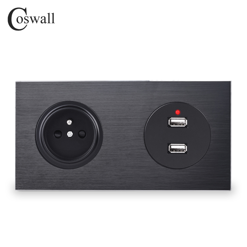 Coswall All Aluminum Metal Panel Black French Standard Wall Socket With Dual USB Charging Port 2.4A Output 172*86mm R12 Series