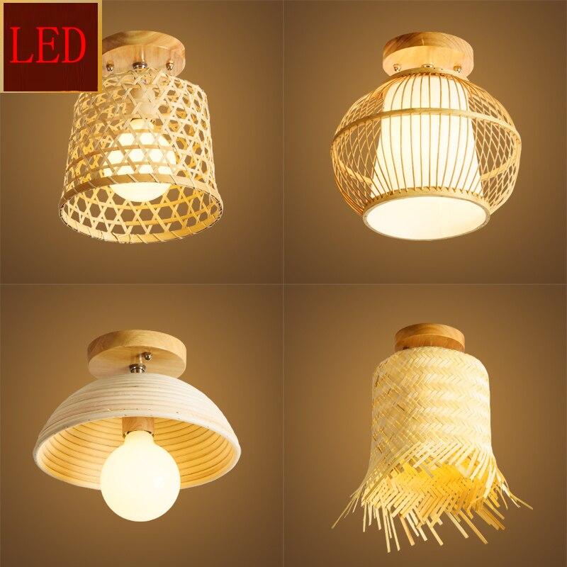 Moderne rotin LED dôme plafonniers salon cuisine salle à manger et barre éclairage chambre décoration plafonniers ampoule couloir