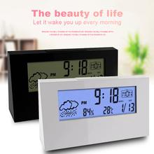 LCD Electronic Digital Smart Alarm Clock Date Temperature Humidity Weather Display Clock Multi-function Home Decor Alarm Clock tanie tanio GEOMETRIC 32mm 130g 133mm Budziki Kalendarze Cyfrowy Z tworzywa sztucznego 73mm Nowoczesne Z podświetleniem Pojedyncze twarzy