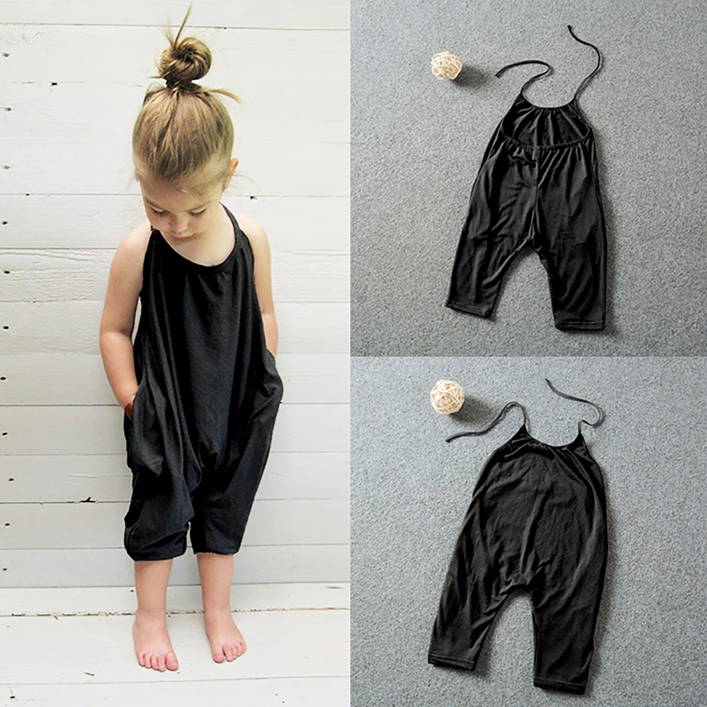 NEW New Summer Toddler Overalls Baby Romper Girl Set Kids Fashion Sling Girls Solid Blue Jumpsuit Harem Pants Trousers