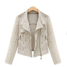 Lace Biker Jacket 2021 Autumn New Brand High Quality Full Lace Outwear Leisure Casual Short Jacket Metal Zipper Jacket FREE SHIP