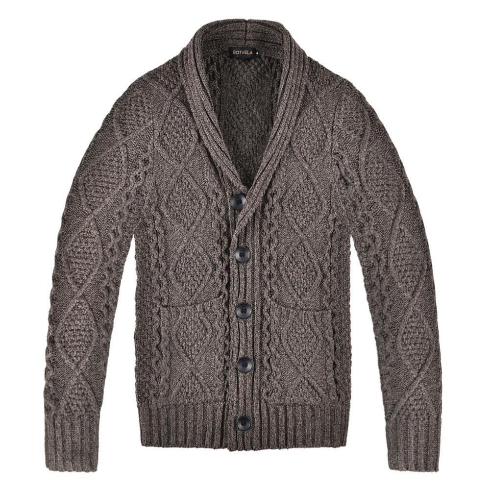 BOTVELA Knitted Aran Cable Sweater Mens Cardigan Fall Winter Wool Blend Coat With Shawl Collar V-neck 203