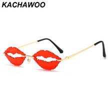 Kachawoo vintage sunglasses women rimless eyeglasses sun female lips shape colorful red purple black party decoration Christmas(China)