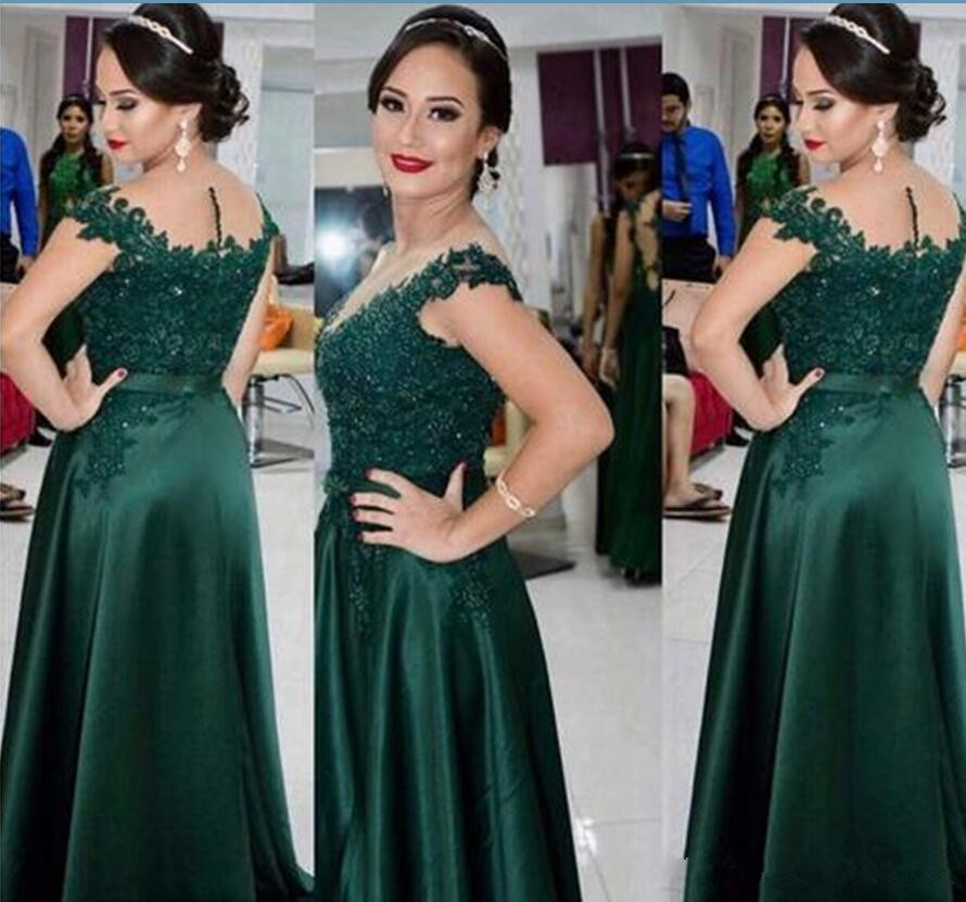 Hunter Green 2019 Mother Of The Bride Dresses Cap Sleeve Lace Beading Formal Evening Dress A Line Party Gown Vestido De Madrinha