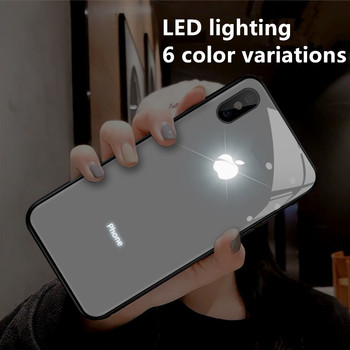 9H Glass LED6 Kinds of Light Color Change Mobile Phone Protective Case for IPhone12 IPhone11 Pro Max X XS XR 8 7 6 6S