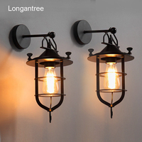 Vintage Wall Lamp Indoor Industrial Wall Light Antique Metal Loft Retro Country Iron Wall Sconce Bar Cafe Home Lighting E27 110V