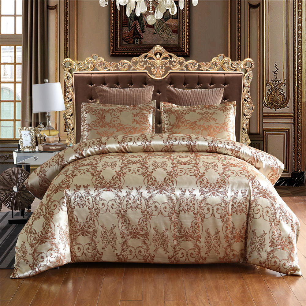 New Jacquard Luxury Wedding 2/3pcs Bedding Set Bed Linen Satin Silk Polyester Duvet Cover Sliver Gold Quilts Cover Set