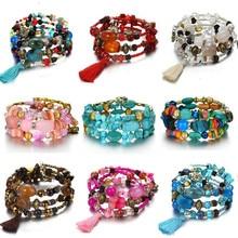 Новые Boho красочные бусы из бирюзы браслет для женщин натуральный камень браслет Шарм этнические ювелирные изделия регулируемый медный браслет