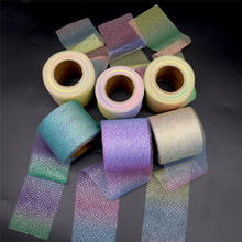 6 см * 25 ярдов серебряные в точку блестящая сетчатая ткань