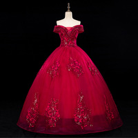 Vestidos 2020 Luxury Party Prom Quinceanera Dresses Noble Off The Shoulder Ball Gown Lace Bead Vintage Prom Dress Robe De Bal