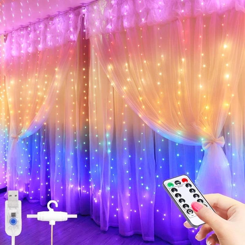 3 м светодиодный Шторы строки Дистанционное Управление USB новый год Фея гирлянды светодиодные лампы для украшения для дома Спальня окна Рож...