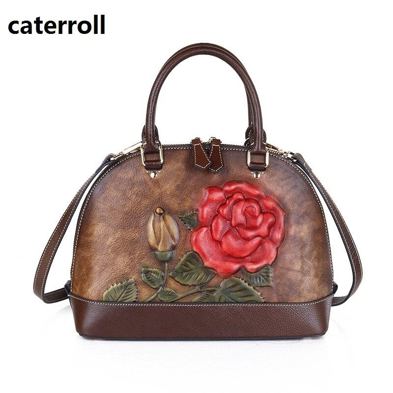Floral femmes sac en cuir véritable fourre-tout sac à main 2019 sacs à main de luxe femmes sacs designer dames sac en cuir véritable